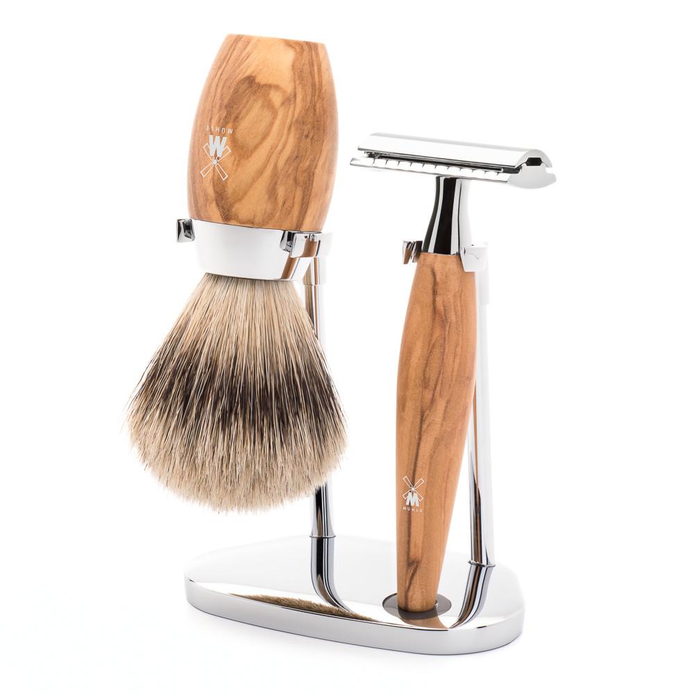 Image of   Mühle barbersæt med DE-skraber, Silvertip Barberkost og Holder, Kosmo, Oliventræ