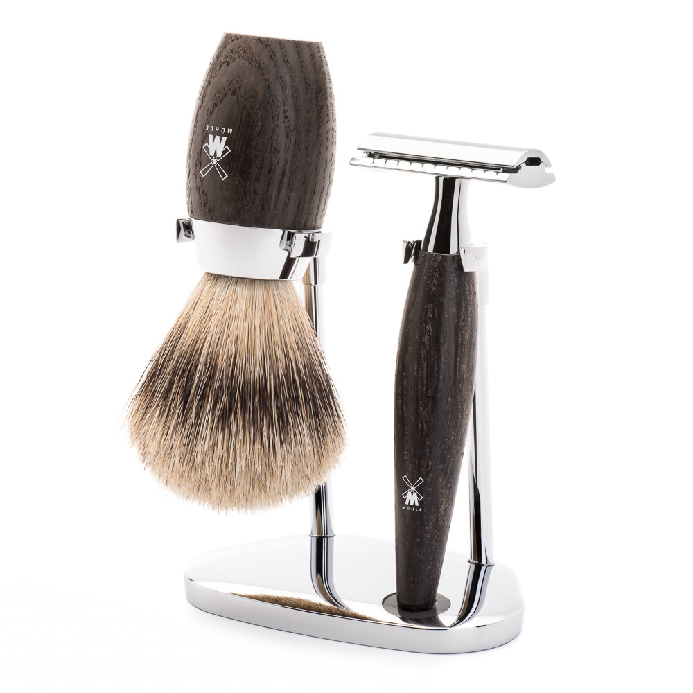 Image of   Mühle barbersæt med DE-skraber, Silvertip Barberkost og Holder, Kosmo, Moseeg
