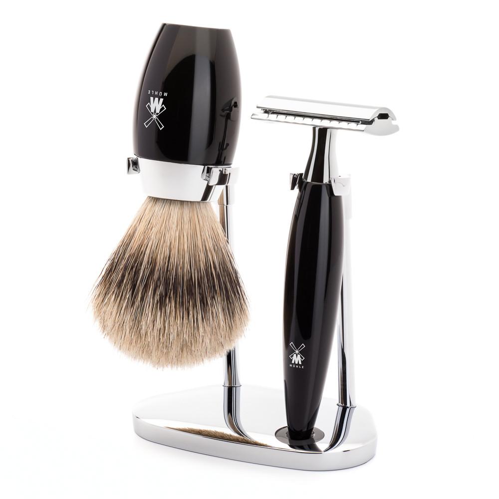 Image of   Mühle barbersæt med DE-skraber, Silvertip Barberkost og Holder, Kosmo, Sort Kunstharpiks