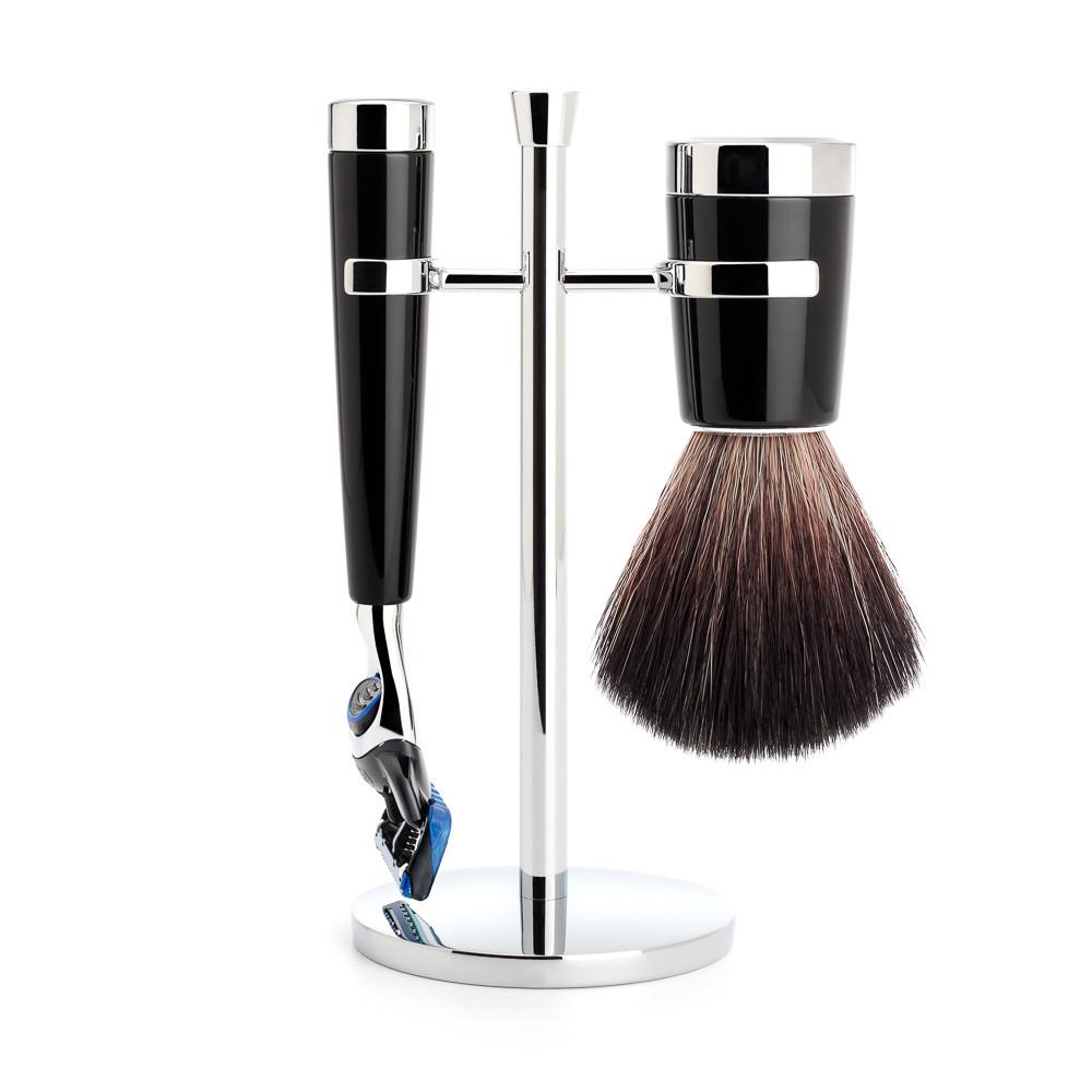 Image of   Mühle barbersæt med Fusion Skraber, Barberkost og Holder, Liscio, Sort Kunstharpiks