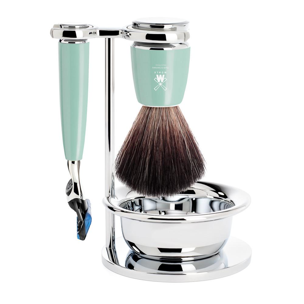 Image of   Mühle barbersæt med Fusion Skraber, Børste, Holder og Skål, Rytmo, Mintgrøn