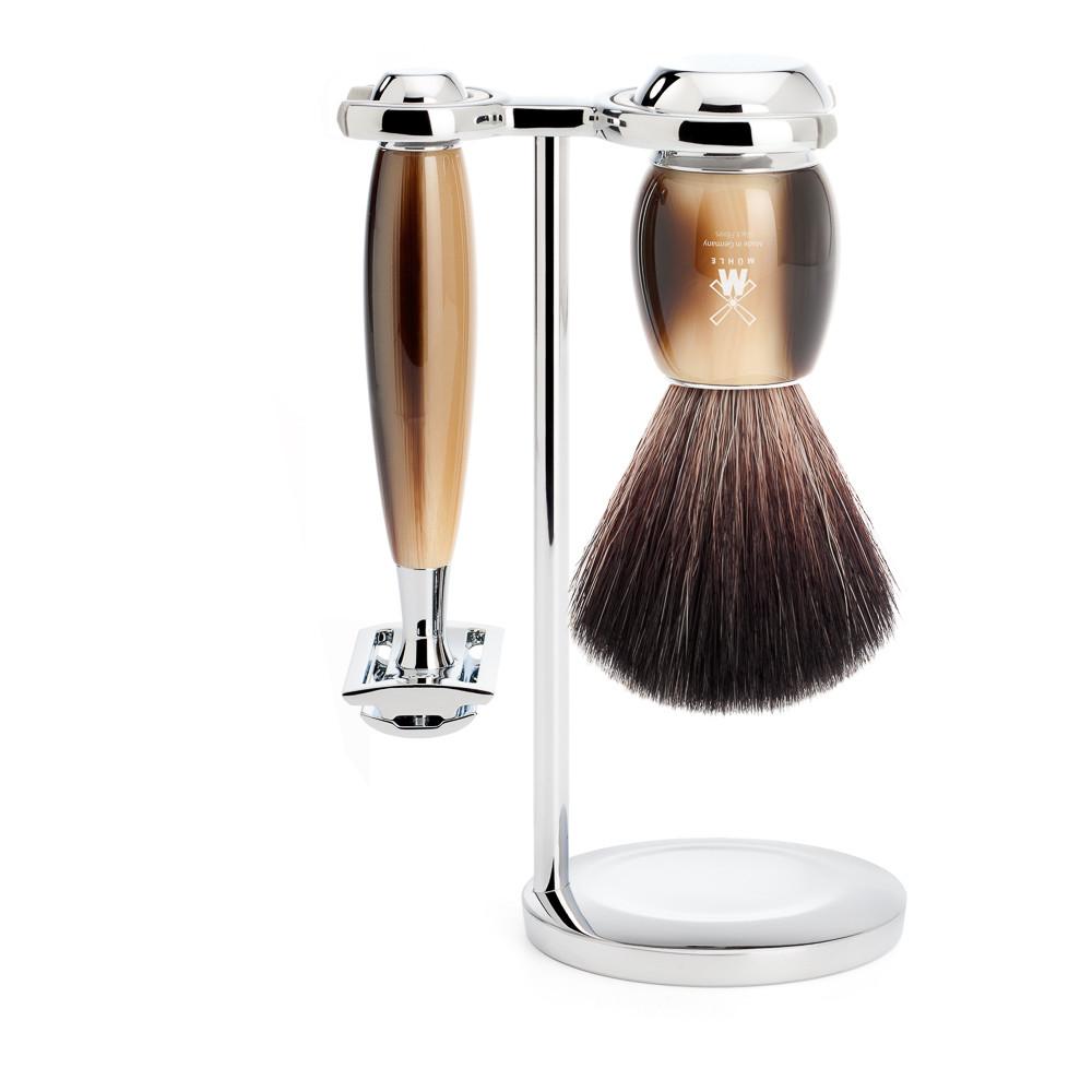 Image of   Mühle barbersæt med DE-skraber, Fiber Barberkost og Holder, Vivo, Brunt Horn