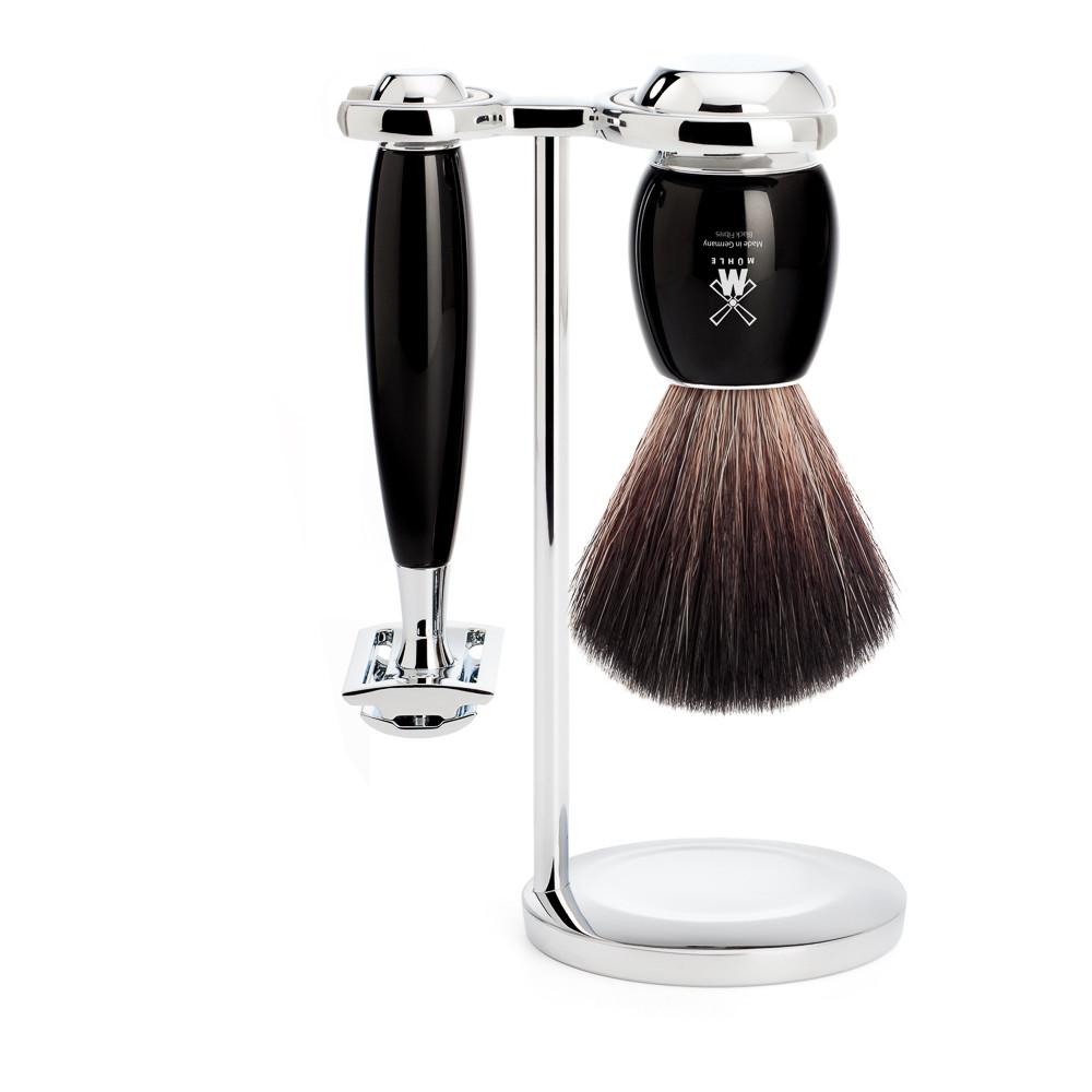 Image of   Mühle barbersæt med DE-skraber, Fiber Barberkost og Holder, Vivo, Sort Kunstharpiks