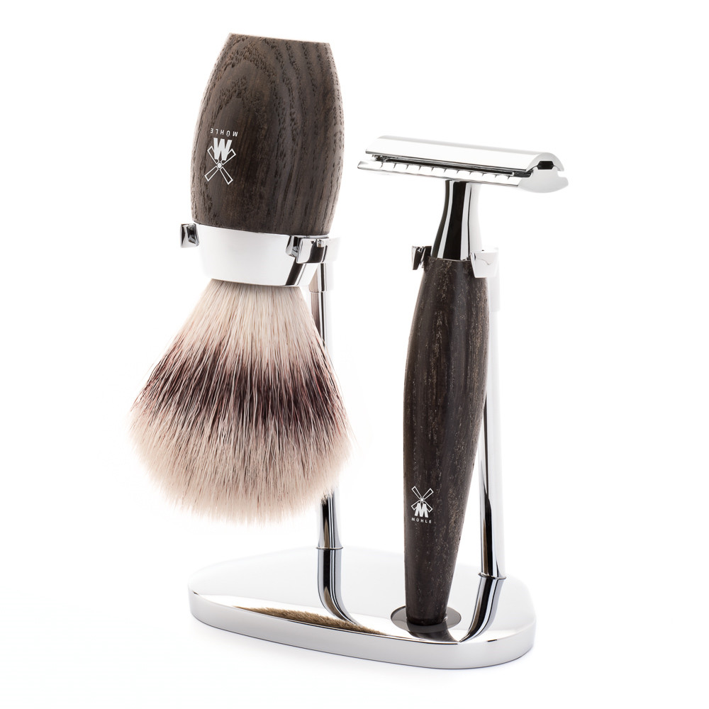 Image of   Mühle barbersæt med DE-skraber, Fiber Barberkost og Holder, Kosmo, Moseeg