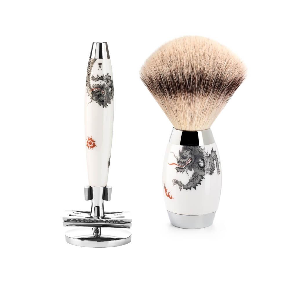Mühle x Meissen Porcelain Barbersæt med DE-Skraber, Silvertip Fibre® Barberkost og Holder til skraber, Porcelæn