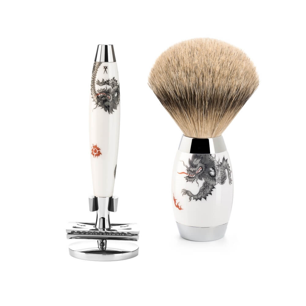 Image of   Mühle x Meissen Porcelain Barbersæt med DE-Skraber, Silvertip Barberkost og Holder til skraber, Porcelæn