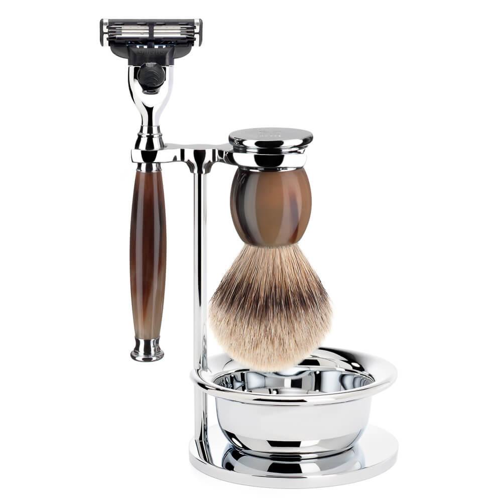 Image of   Mühle Barbersæt med Mach3 Skraber, Barberkost, Holder og Skål, Sophist, Genuine horn