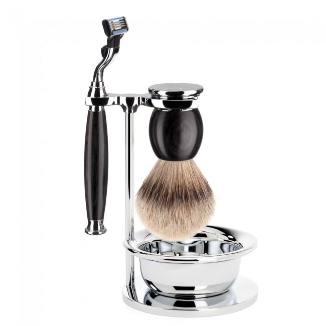 Image of   Mühle Barbersæt med Mach3 Skraber, Barberkost, Holder og Skål, Sophist, African Blackwood