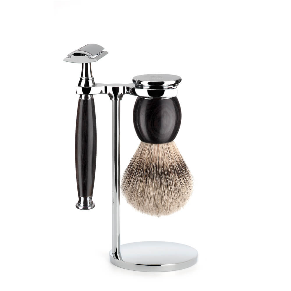 Image of   Mühle Barbersæt med DE-skraber, Barberkost og Holder, Sophist, African Blackwood