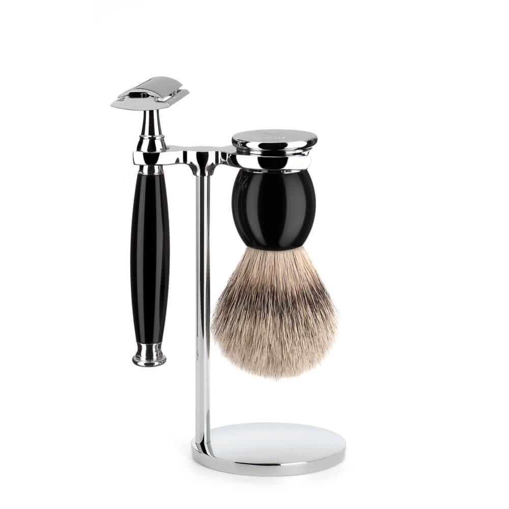 Image of   Mühle Barbersæt med DE-skraber, Barberkost og Holder, Sophist, Sort Kunstharpiks