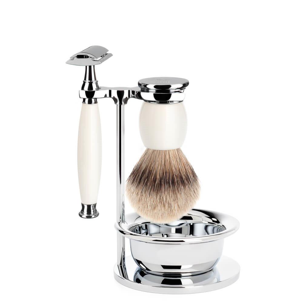 Image of   Mühle Barbersæt med DE-skraber, barberkost, holder og skål, Sophist, Porcelæn