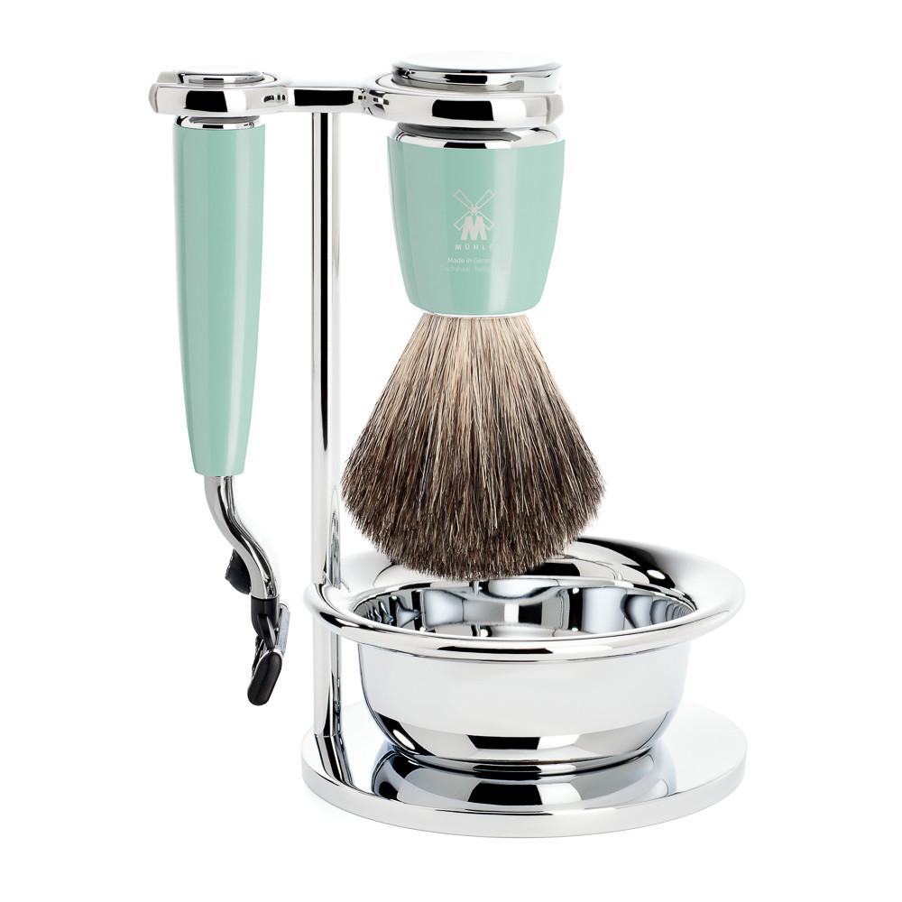 Image of   Mühle barbersæt med Mach3 Skraber, Barberkost, Holder og Skål, Rytmo, Mintgrøn