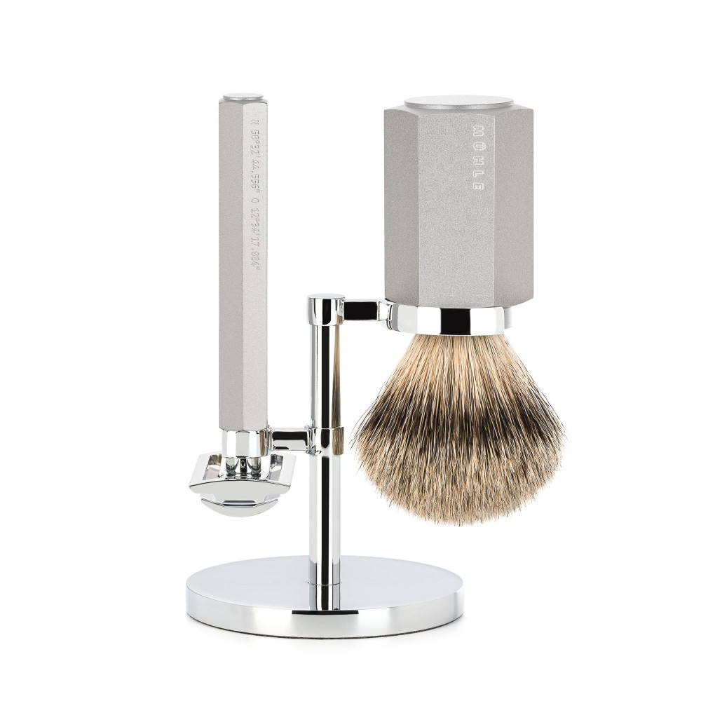 Image of   Mühle x Mark Braun Barbersæt med DE-skraber, Silvertip Barberkost og holder, Hexagon, Sølv