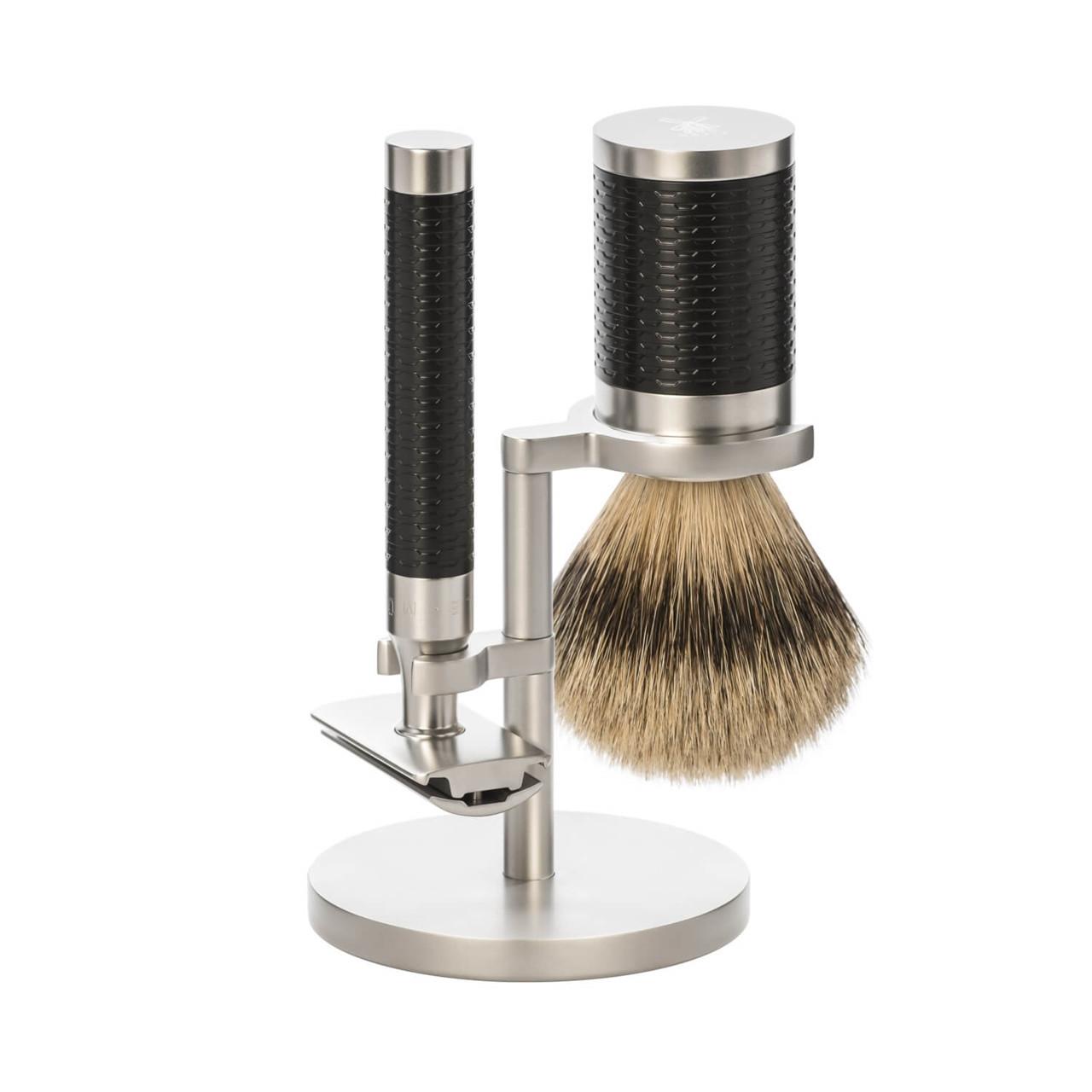 Image of   Mühle Barbersæt med DE-skraber, Barberkost og Holder, Rocca, Rustfrit stål