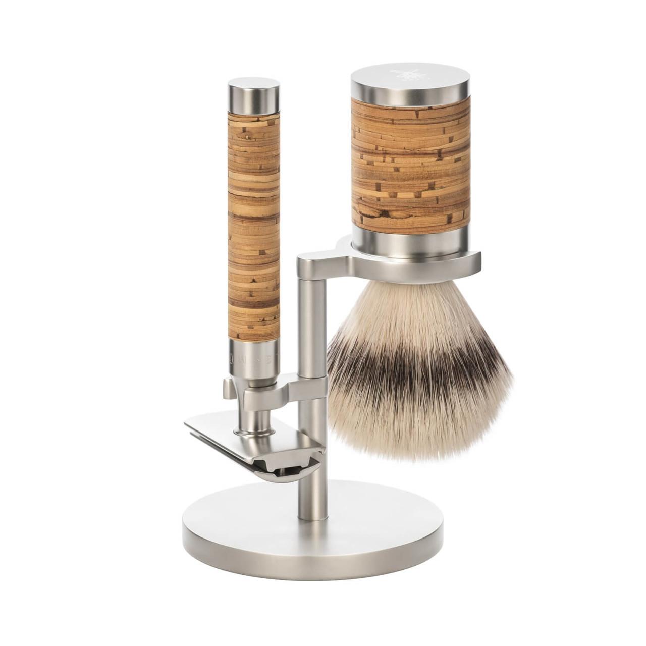 Image of   Mühle Barbersæt med DE-skraber, Fiber Barberkost og Holder, Rocca, Rustfrit stål & Birkebark