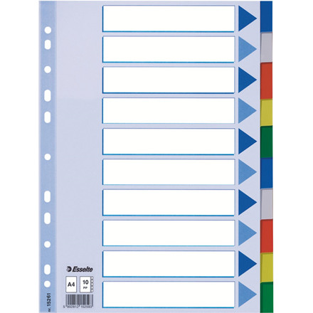 1-10 faneblade Esselte A4 - farvede plastfaner med kartonforside