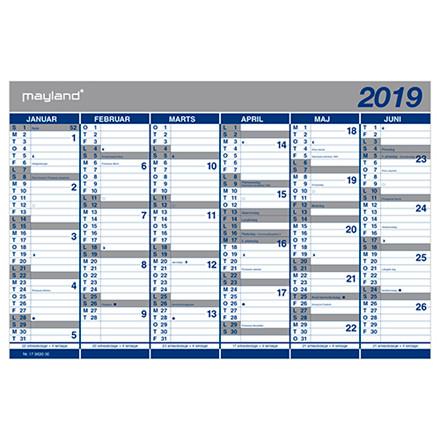 Kartonkalender Mayland 2019 halvårs 44 x 29 cm - 19063000
