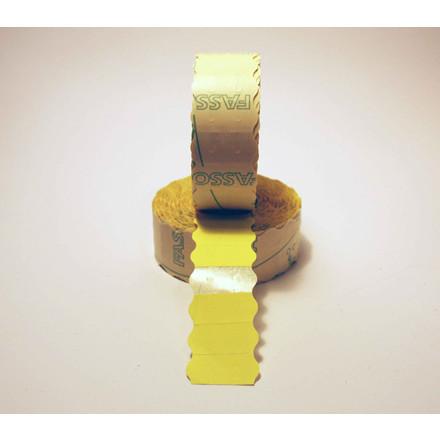 Prismærker - 26 x 12 mm fluor gul med permanent klæber - 6 ruller
