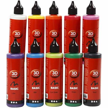 3D Liner, ass. farver, Basic, 10x100ml