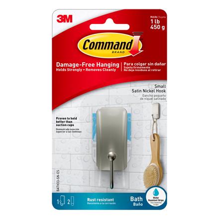 3M Command Bath krog, lille, børstet nikkel
