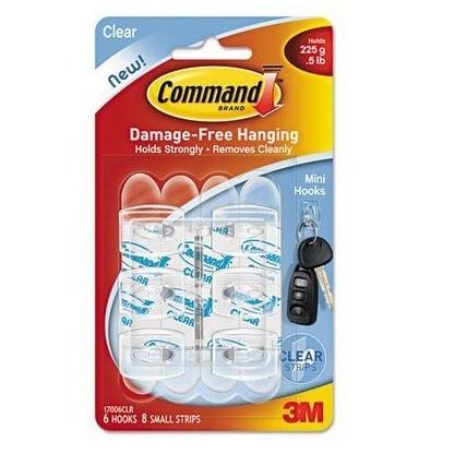 3M Command gennemsigtige minikroge med gennemsigtige strips 170