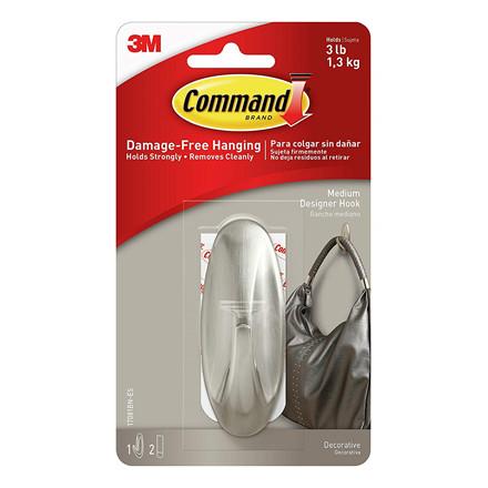 3M Command mellemstor designerkrog i børstet nikkel 17081BN