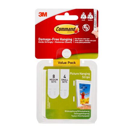 3M Command strips til billedophæng Value Pack, hvid, 8 x 2 medi