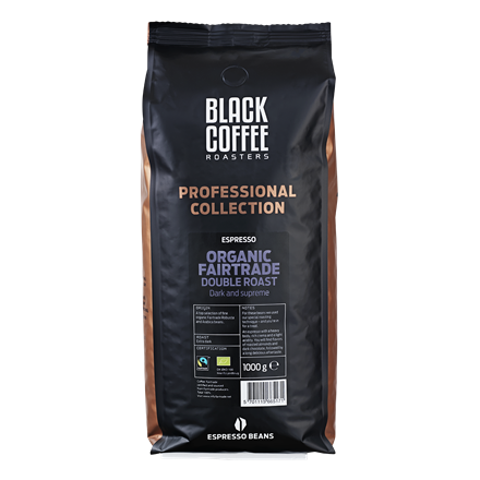 Black Coffee Roasters Double Roast Organic Fairtrade - 1 kg hele bønner