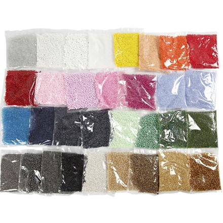 Rocai perler, dia. 1,7+3+4 mm, hulstr. 0,5-1,2 mm,  32x100g, str. 6/0+8/0+15/0 ass