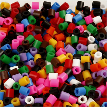 Rørperler størrelse medium 5 x 5 mm - hulstr. 2,5 mm - standardfarver - 1100 assorteret