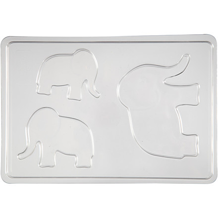 Støbeform elefant 1 stk str. 6+8+10 cm - udvendige mål 14,9 x 22 cm