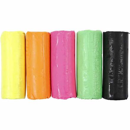 Modellervoks sæt med 5 neonfarver Soft Clay - 400 gram