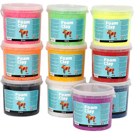 Foam Clay® assorteret farver - 10 x 560 gram