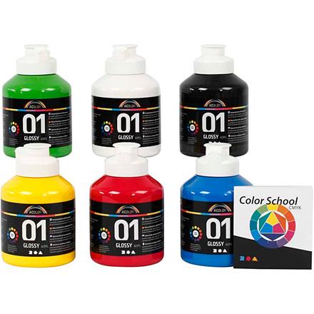 Akrylmaling A-Color - farveskole, primærfarver, 01 - blank, 6x500ml