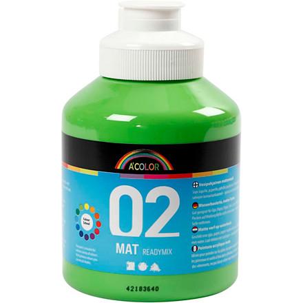 Akrylmaling lys grøn 02 - mat plakatfarve A-Color 500 ml
