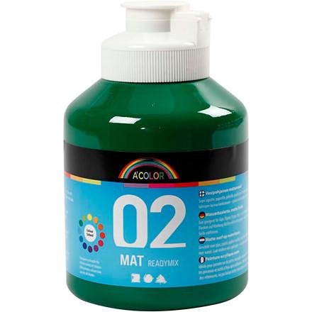 Akrylmaling mørk grøn 02 - mat plakatfarve A-Color 500 ml