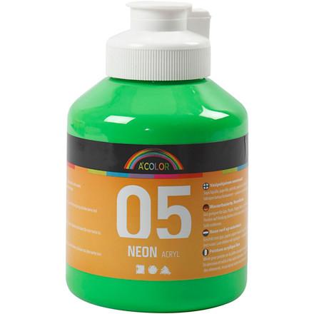 Akrylmaling A-Color, neon grøn, 05 - neon, 500ml