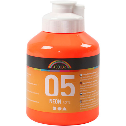 A-Color akrylmaling, neon orange, 05 - neon, 500ml