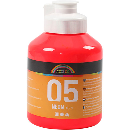 Akrylmaling A-Color, neon rød, 05 - neon, 500ml
