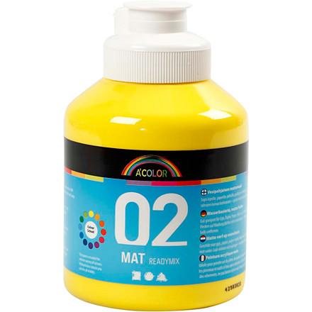 Akrylmaling primær gul 02 - mat plakatfarve A-Color 500 ml