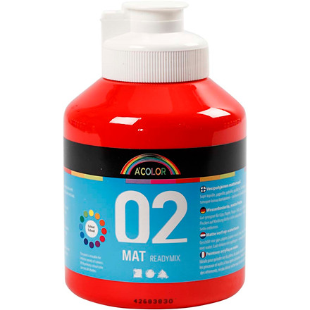 Akrylmaling A-Color, rød, 02 - mat (plakatfarve), 500ml