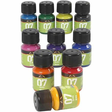 Porcelænsmaling og glasmaling sæt med 10 farver A-Color Glass - 10 x 30 ml