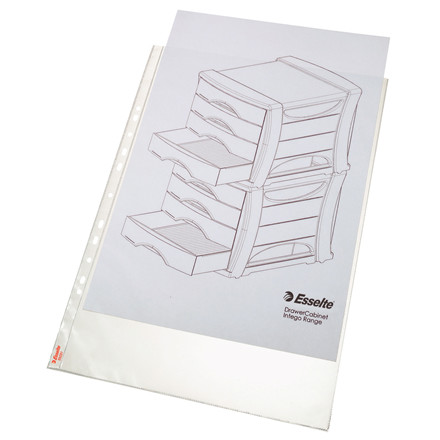 A3 plastiklommer - Esselte 85 my præget med huller på lang side - 50 stk i pakke