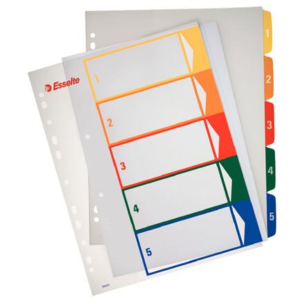 A4 maxi plastregister 1-5 Esselte - farvede faneblade og printbar forside