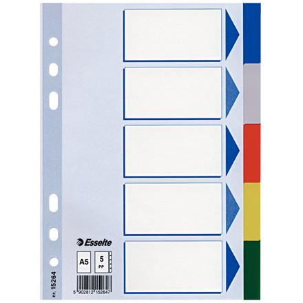 Faneblade A5 1-5 Esselte - farvede faner i plast med kartonforside