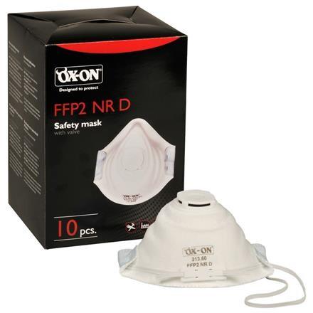 Åndedrætsværn, Ox-on, FFP2 NR D, med ventil, hvid, one size