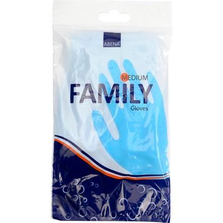 Abena Family Vinylhandske - Blå Husholdningshandske med velour - Størrelse Medium