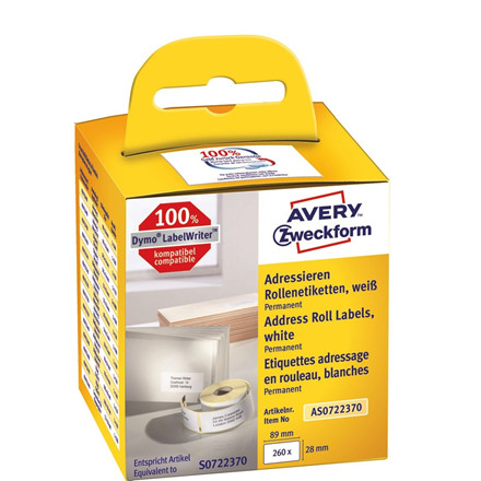 Avery AS0722370 - Adresseetiketter til etiketprinter 89 x 28 mm - 2 ruller