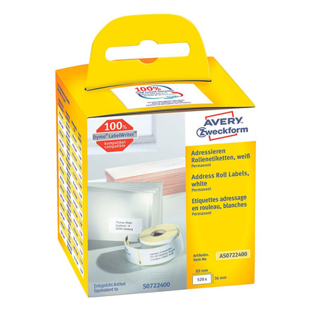 Avery AS0722400 - Adresseetiketter til Dymo Labelwriter 89 x 36 mm - 520 etiketter