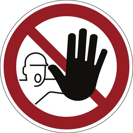 Advarselsklistermærke Adgang forbudt Ø43cm 0,4mm hvid/rød